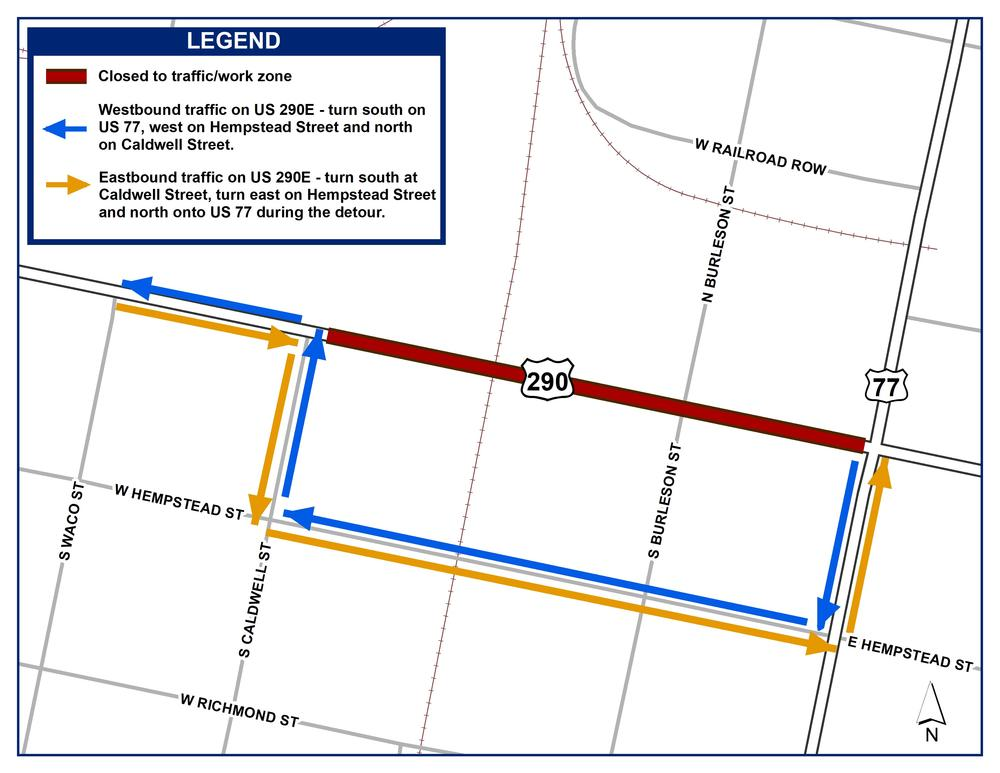 US 290E Giddings Closure 08-12-19